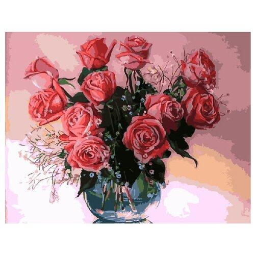Купить ВанГогВоМне Картина по номерам Розы в вазе , 40х50 см (ZX 10017), Картины по номерам и контурам