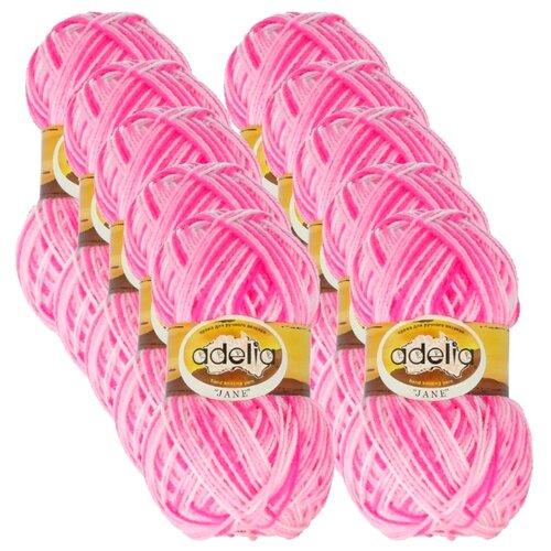 Купить Пряжа Adelia Jane, 100 % акрил, 50 г, 227 м, 10 шт., 11 белый-розовый-яр.розовый