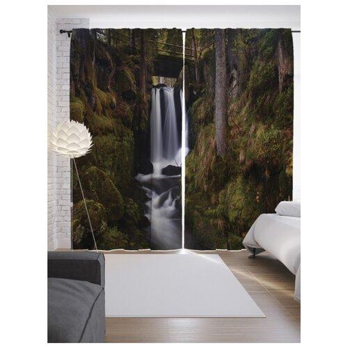 Портьеры JoyArty Водопад в лесу на ленте 265 см (p-13904)