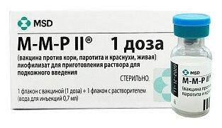 М-М-Р II (Вакцина против кори, паротита и краснухи, живая) лиоф. для приг. р-ра для п/к введ. фл. 0,7 мл (1 доза) №1