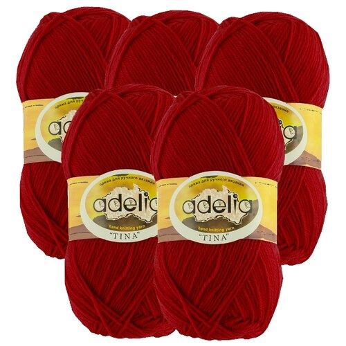 Купить Пряжа Adelia Tina, 100 % акрил, 100 г, 308 м, 5 шт., №027 т.красный