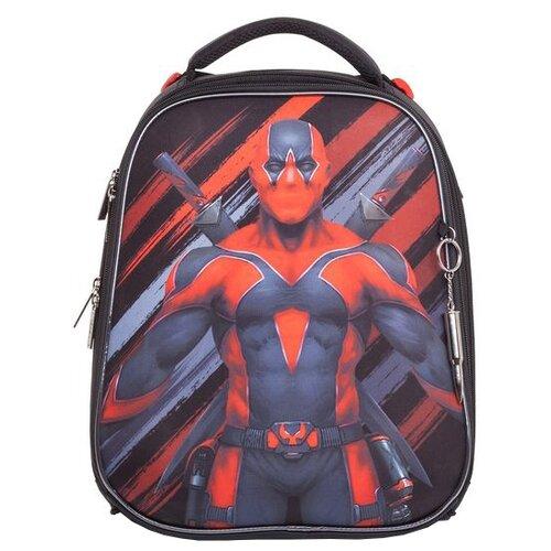 Hatber Ранец Ergonomic Супермен (NRk_30039), черный/красный