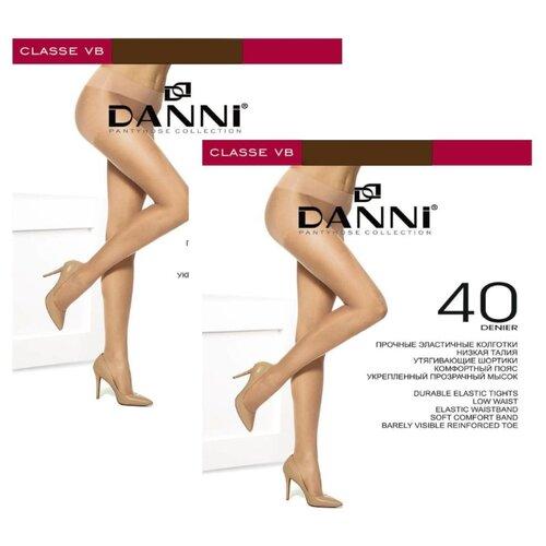 Колготки DANNI Classe 40 den, размер 4, загар (коричневый), 2 пары колготки женские золотая грация шансон 20 цвет загар размер 4 46
