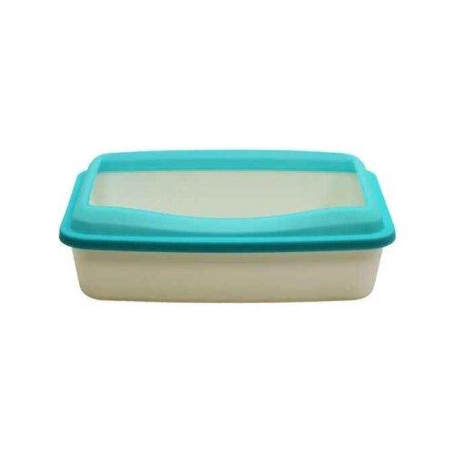 Туалет-лоток для кошек Шурум-бурум 1КУТ00050 41.5х31х12 см белый/голубой