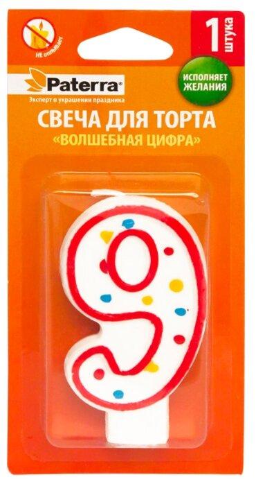 Paterra Свеча для торта Волшебная цифра 9 белый/красный