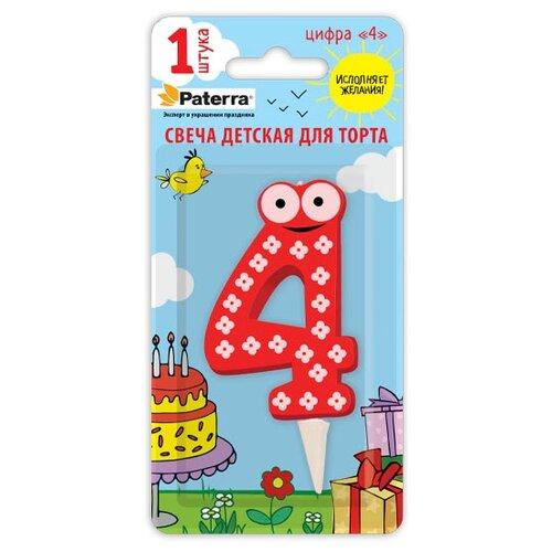 Paterra Свеча для торта Детская, цифра 4 красный