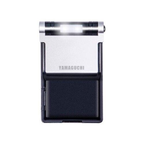 Зеркало косметическое карманное Yamaguchi Moonlight с подсветкой черный/серебристый