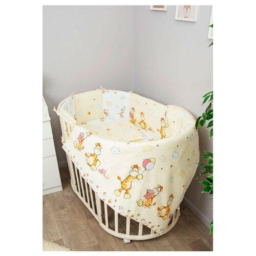 Купить Сонный Гномик комплект с бортиками-подушками Жирафик (6 предметов) бежевый, Постельное белье и комплекты