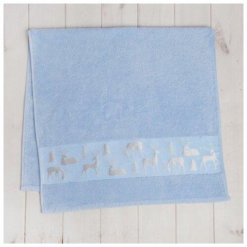 Этель полотенце Олени универсальное 30х70 см голубой