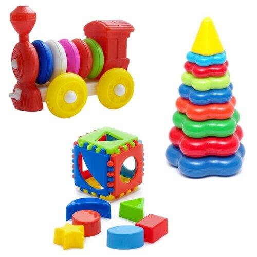 Купить Развивающий набор Игрушка Кубик логический малый арт. 40-00110 + Пирамида детская большая арт. 40-0045 + Конструктор-каталка Паровозик арт. К-004, Karolina toys, Развитие мелкой моторики