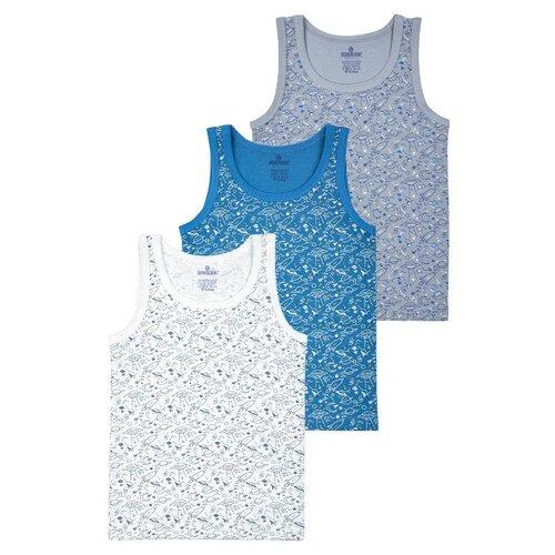 Купить Майка BAYKAR 3 шт., размер 98/104, белый/серый/синий, Белье и пляжная мода