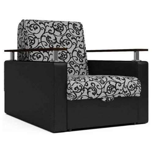 Кресло-кровать Шарм-Дизайн Шарм размер: 80х101 см, , размер спального места: 194х60 см, обивка: комбинированная, цвет: черный/узоры