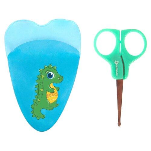 Купить Крошка Я Ножницы детские маникюрные Динозаврик, с чехлом зеленый, Маникюрные принадлежности