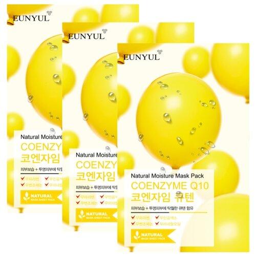 Eunyul тканевая маска Natural Moisture Mask Pack с коэнзимом Q10, 22 мл, 3 шт. lebelage тканевая маска для лица с коэнзимом q10 natural mask 23г
