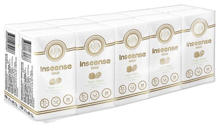 Платочки Inseense Gold бумажные 3-и слоя, аромат лесных ягод 10 х 10 шт