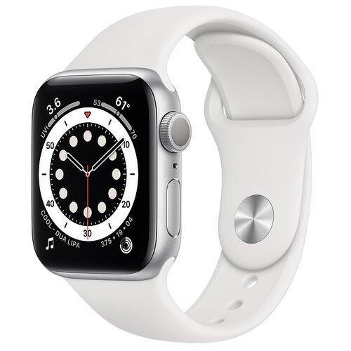 Умные часы Apple Watch Series 6 GPS 40мм Aluminum Case with Sport Band, серебристый/белый часы apple watch series 5 gps 44mm aluminum case with sport band золотистый розовый песок