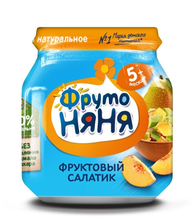 Пюре ФрутоНяня Фруктовый салатик (с 5 месяцев) 100 г, 1 шт