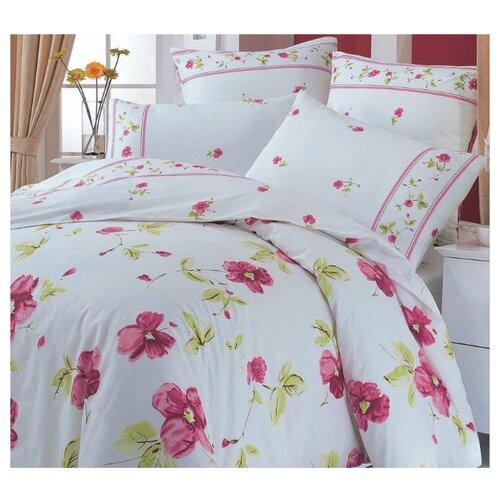 цена Постельное белье 1.5-спальное СайлиД A-22, поплин белый/розовый онлайн в 2017 году