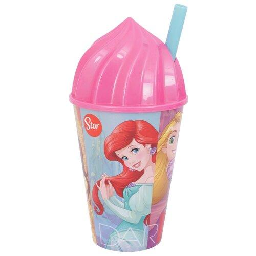 Stor Стакан с соломинкой и объемной крышкой в виде мороженого 430 мл Принцессы Дружные приключения