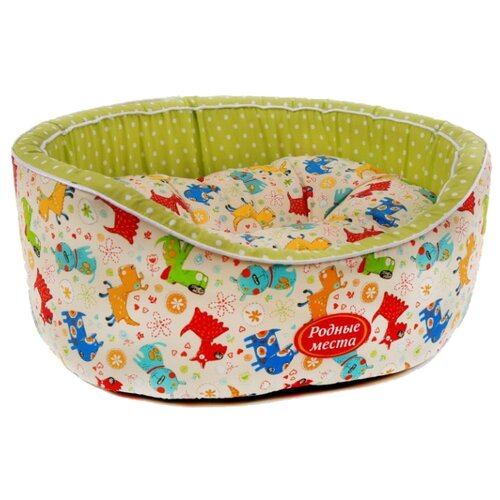 Лежак для собак и кошек Родные места Премиум №1 Собачки с оливковым горошком 43х38х15 см белый/оливковый