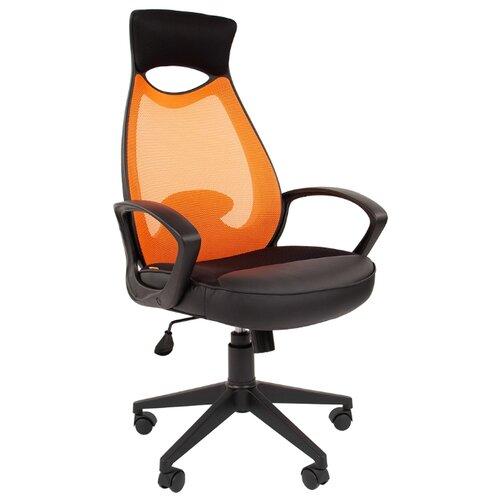 Компьютерное кресло Chairman 840 для руководителя, обивка: текстиль/искусственная кожа, цвет: black/оранжевый
