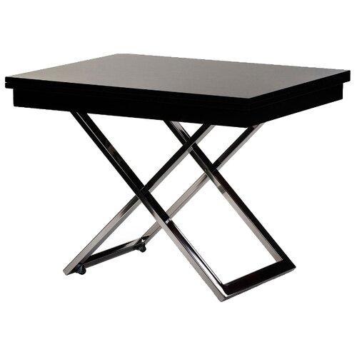 Стол кухонный Levmar Cross GW, раскладной, ДхШ: 101 х 80 см, длина в разложенном виде: 202 см, черный глянец