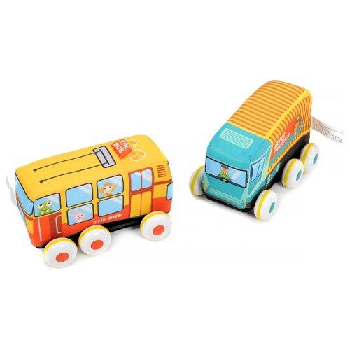 Купить Набор машин Elefantino мягких Веселые гонки (IT104755) желтый/оранжевый/голубой, Машинки и техника
