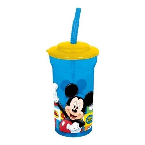 Купить Стакан прозрачный пластиковый с соломинкой и крышкой Микки Маус. Символы (460 мл), Stor, Посуда