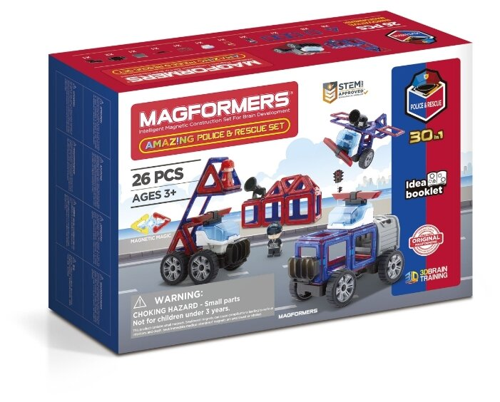 Магнитный конструктор Magformers Amazing 717001 Police & Rescue Set фото 1