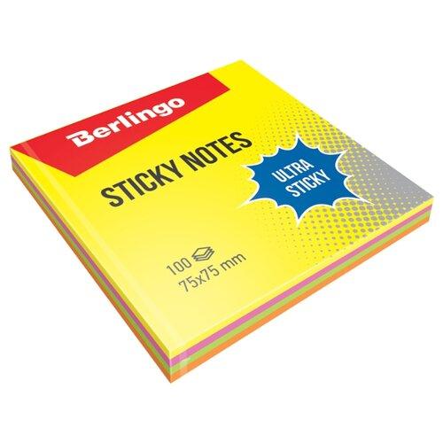 Купить Berlingo Самоклеящийся блок Ultra Sticky 7, 5 x 7, 5 см, 100 л, 4 цвета(LSn_39602) желтый/зеленый/оранжевый, Бумага для заметок