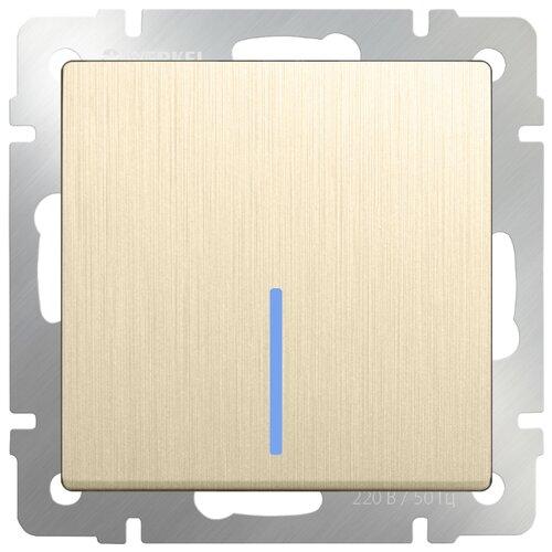 Выключатель 1-полюсный Werkel WL10-SW-1G-2W-LED,10А, шампань werkel выключатель одноклавишный проходной с подсветкой серебряный wl06 sw 1g 2w led 4690389053863