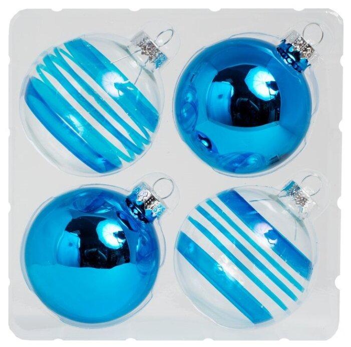Набор стеклянных шаров, 4 штуки, 6 см