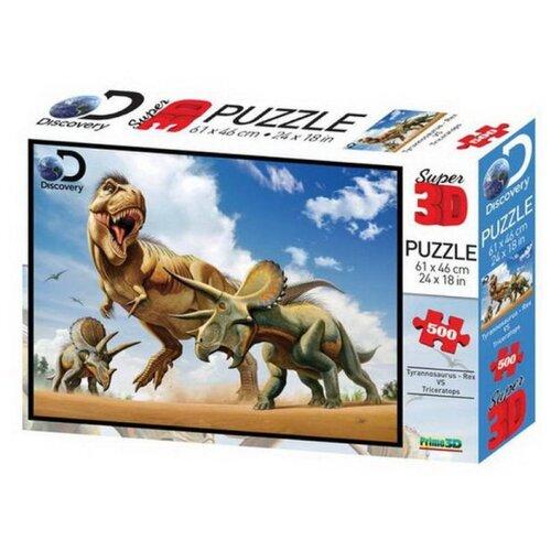 Купить Пазл Prime 3D Тираннозавр против трицератопса (10329), 500 дет., Пазлы