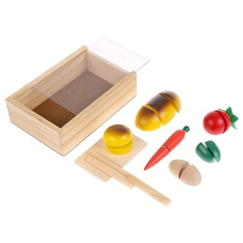 Набор продуктов с посудой Буратино Овощи на липучке 40069-R коричневый/желтый/красный.