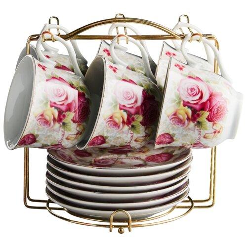 Чайный сервиз Rosario Розовые розы на металлической подставке Ф5-021К/12 белый/розовый abel pintos rosario