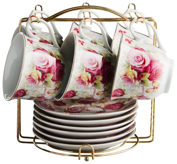 Чайный сервиз Rosario Розовые розы на металлической подставке Ф5-021К/12