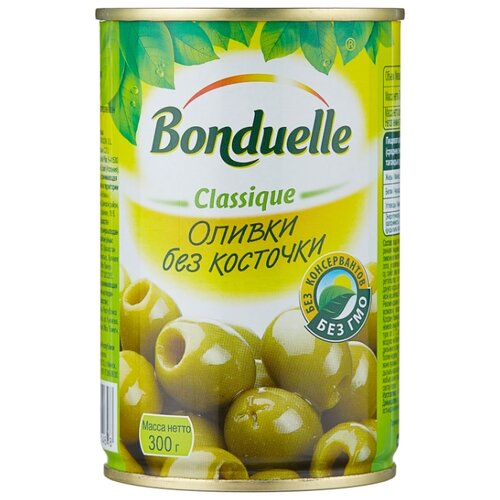 Bonduelle Оливки без косточки, жестяная банка 300 г ideal оливки зеленые без косточки жестяная банка 300 г