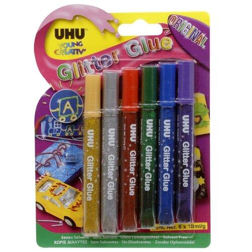 UHU Клеящие блестки для декорирования Young Creativ Glitter Glue Original (6 шт.) разноцветный клеящие блёстки uhu young creativ матовые 6 х10 мл