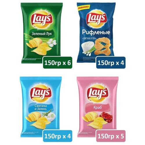 Набор чипсов Lay's картофельные Микс вкусов, 19 уп. по 150 г карамель на палочке конфитрейд sweet bar микс вкусов 20 шт по 20 г