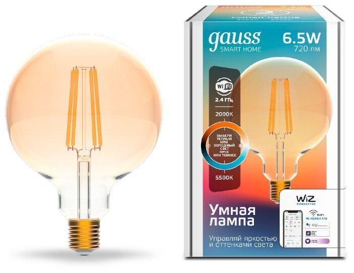 Лампа светодиодная gauss 1340112, E27, G95, 6.5Вт фото 1