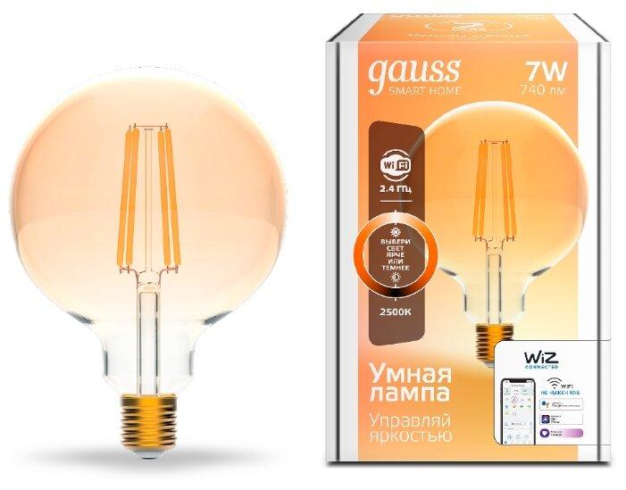 Лампа светодиодная gauss 1320112, E27, G95, 7Вт фото 1