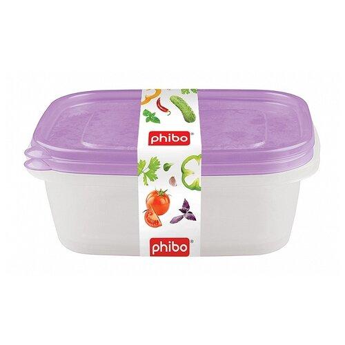 Phibo Комплект контейнеров Арт-Декор 1,25л (2 шт) фиолетовый