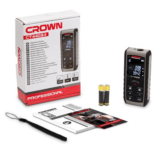 Лазерный дальномер CROWN CT44034 80 м серый/черный лазерный дальномер crown ct44032 40 м серый черный