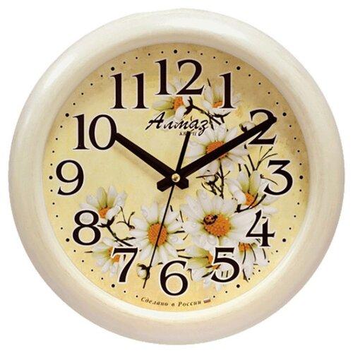 Часы настенные кварцевые Алмаз H69 бежевый часы настенные кварцевые алмаз c25 розовый бежевый