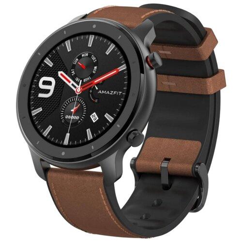 Умные часы c GPS Amazfit GTR 47 mm aluminium case, leather strap brown