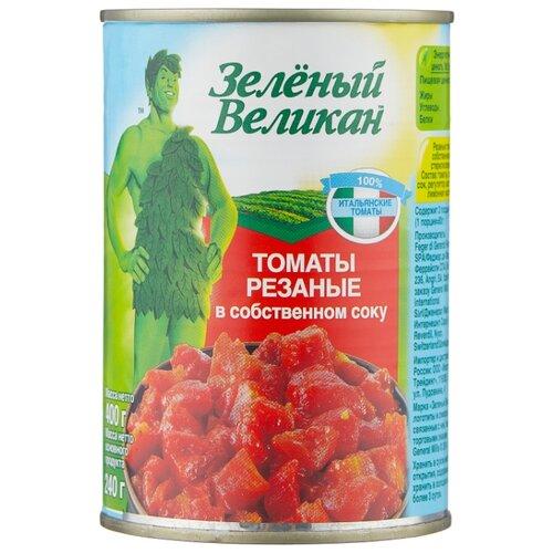 Томаты резаные в собственном соку Зеленый Великан жестяная банка 400 г lorado томаты в собственном соку 720 мл