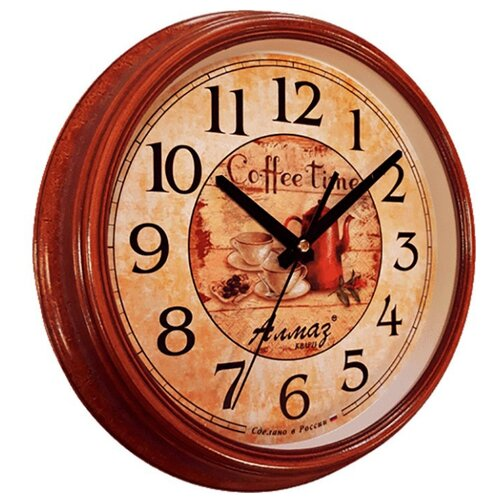 Часы настенные кварцевые Алмаз A66 коричневый/бежевый часы настенные кварцевые алмаз c25 розовый бежевый
