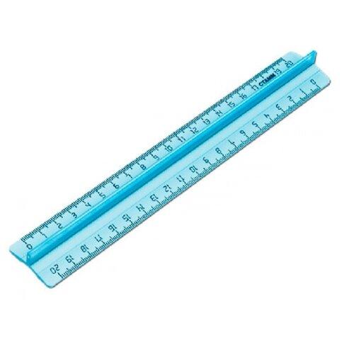 СТАММ Линейка с держателем Crystal 20 см (ЛН1400) прозрачный/голубой линейка стамм лн20 20 см пластик