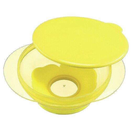 Купить Тарелка Happy Baby на присоске с крышкой (15002) lemon, Посуда