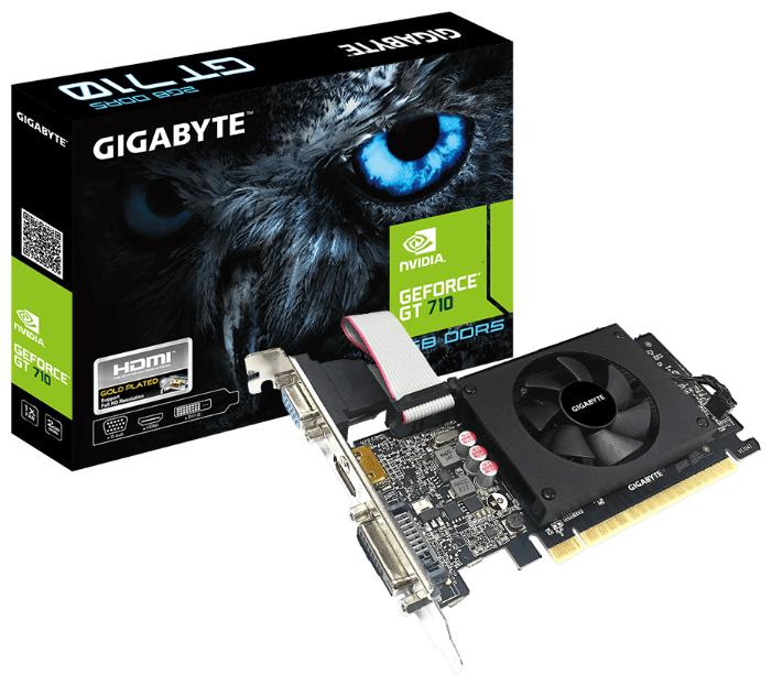 Купить Видеокарта GIGABYTE GeForce GT 710 954Mhz PCI-E 2.0 2048Mb 5010Mhz 64 bit DVI HDMI HDCP Retail по низкой цене с доставкой из Яндекс.Маркета (бывший Беру)